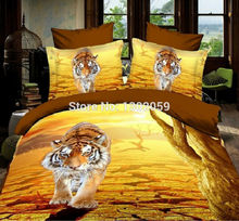 High Quality Factory Shop 3D Yellow Tiger Animal Total 4 Pcs Quilt Cover Bed sheet Pillowcase King Queen Bedding Set Available(China)
