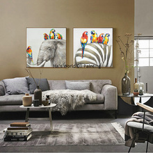 Best Selling Handmade Items Colorful Abstract Paintings Animals Oil Painting Elephant Zebra birds Oil Paintings Home Decor Art(China)