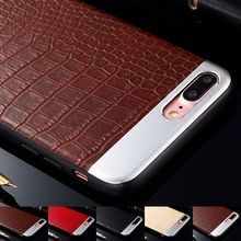 for iPhone 6 6S 7 Plus Case Luxury Crocodile Pattern Slim Leather + Aluminum Cover Hybrid Rugged Cases Soft Silicone Protector