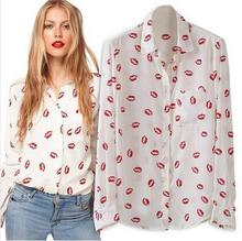 2015 New Fashion Women Summer Blouse Lip Print Long Sleeve Euro Chiffion Shirt S-L Red Black Women Tops