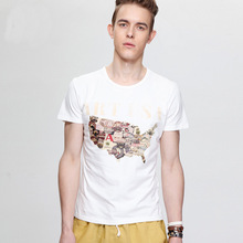 Pre Sale 2014 summer new fashion printing cotton round neck short sleeve T-shirt men's breathable American Map boys