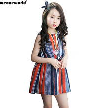 WEONEWORLD Girls Dresses Summer 2017  Clothes Selling Baby Children Stripes Clothes Girls Clothing Set Striped Kids Easter Dress