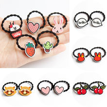 1pair Children elastic hair bands Graffiti Acrylic small hair band BB girl cartoon animal hair holder hair accessories headwear