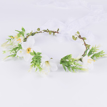 CXADDITIONS Ribbon Adjustable Lily Flower Crown Wedding Bridal Tiara Hair Band Accessory Floral Crown Headband Headwrap Bride(China)