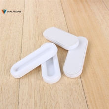 4pcs/Lot Door Handle White Plastic Self-adhesive sliding cupboard doors glass window cabinet drawer wardrobe Auxiliary handles(China)