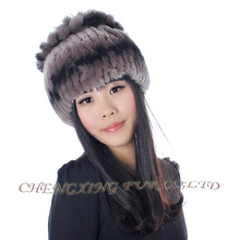CX-C-178 Hand Made Chinese Genuine Rex Fur Knitted Beanie Hat ~ DROP SHIPPING