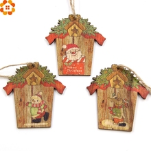 9PCS Creative House Christmas Wooden Pendants Xmas Tree Ornaments DIY Wood Crafts Home Christmas Party Decoration Kids Gift(China)