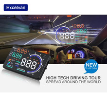 "Excelvan A8 5.5"" Car HUD Projector Head-Up Display Speeding Warning Fuel OBD II Speedometers Ship from Russian(China)"