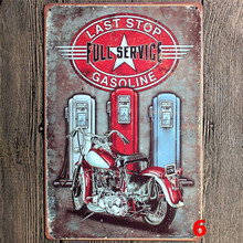 Last Stop Full Service Gasoline Motorcycle Metal Sign 20*30 Vintage Tin Sign Home Decor For Gas Station Garage Wall decoration(China)