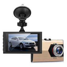 "720P High Definition Car Video Audio Recording 3.0"" Cyclic Recorder Dashcam DVR with Suction Stand Gold"