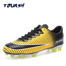 Men's Black Orange High Ankle AG Sole Outdoor Cleats Football Boots Shoes Soccer Cleats