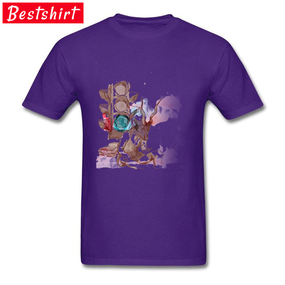 Antilope Girl in the Street Casual Tops Tees Short Sleeve for Men 100% Cotton Fabric Crewneck T Shirts Normal Top T-shirts Funky Antilope Girl in the Street purple