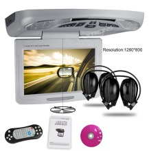 "XTRONS Grey11.3""Digital car Monitor Flip down Car Roof DVD Player Overhead car Ceiling Monitor USB FM Game Disc +2 IR Headphone"