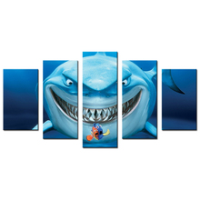 Kids Baby Room Decor Finding Nemo Movie Poster Animation Film Shark Poster Pictures Printed 5 Panel Canvas Home Decor For Walls(China)