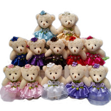 Wholesale 10PCS/lot 12CM lovely girls plush toy doll stuff&plush mini bouquets bear toy for promotional gift(China)