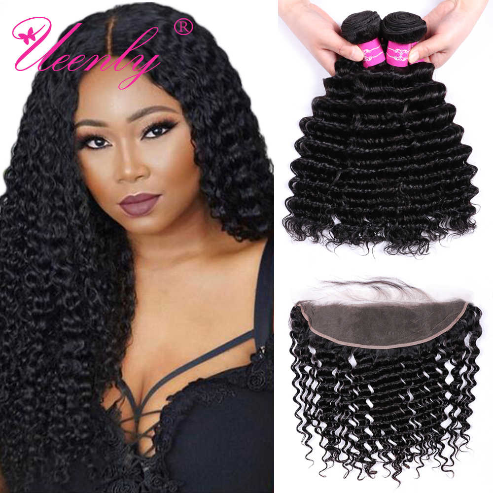 UEENLY Deep Wave Bundles With Frontal Non Remy Human Hair Bundles With Closure Brazilian Hair Weave 3 Bundles With 13x4 Closure