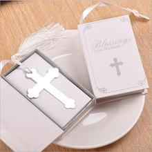 20pcs Silver Cross Bookmark Wedding Favors Baby Shower First Communion Gifts Souvenirs(China)
