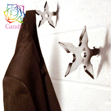 New arrival Ninja Star wall hanger Coat decorative hook Creative Ninja darts decorative Metal hooks for clothes wall coat hanger