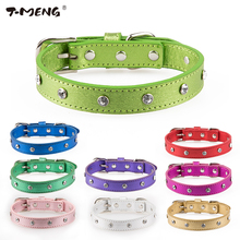 T-MENG 9 Colors 3 Sizes Soft Genuine Leather Dog Collars One Row Diamond Bling Pet Dog Collar Fashion Crystal Neck Pet Products(China)