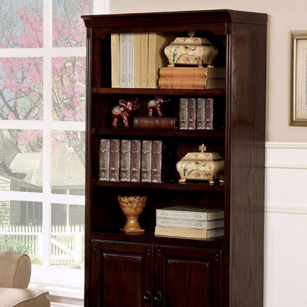 Tami Transitional Style Book Shelf With Multiple Drawers, Dark Walnut