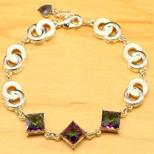 Cube Rainbow Mystic Fire Australian Crystal 925 Sterling Silver Bracelet For Women Digital solid connection 7-8 inch(China)