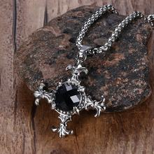 Mens Vintage Necklaces Stainless Steel Black Natural Stone Cut Inlay Gothic Fleur De Lis Pendant Necklace collares collier Jewel