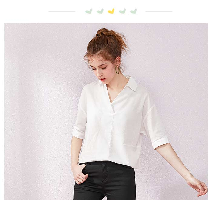 SEMIR Short sleeve white shirt women summer 19 new lapel V-neck shirt simple solid color students fresh relaxed blouse 4