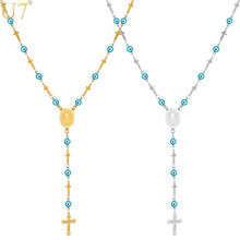U7 Turkish Jewelry Blue Eye Necklaces For Men/Women Trendy Stainless Steel Saint Benedict Rosary Cross Long Necklace N564(China)