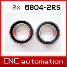 2pcs rubber sealed 440 stainless hybrid ceramic bearings S6804 6804 2RS 20*32*7mm Si3N4 ball for 20mm shaft(China)
