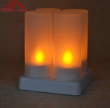 4pcs/set Rechargeable LED Tealight Candles for Birthday Party Home Holiday Bar Decoration with Frosted Holder Remote