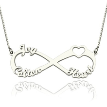 Customized Unique Family Names Necklace 925 Sterling Silver Pendant Infinity Heart Letter Necklaces Girlfriend's Gift