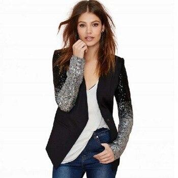 New Fashion Women Jacket OL Work Female Suit Long Sleeve Lapel Silver Black Sequins Elegant Ladies Feminino Plus 3XL Size YF206