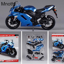 1:12 Kawasaki ZX-6R DIY Motorcycle Model Diecast Blue Assembly Line Mini Vehicle Toys Gift for Kids Birthday and Collection
