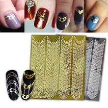 SWEET TREND Gold/Silver Nail Vinyls Hollow Sticker Irregular Mixed Design Stamping Manicure Stencil Nail 3D Tip Sticker LANF425