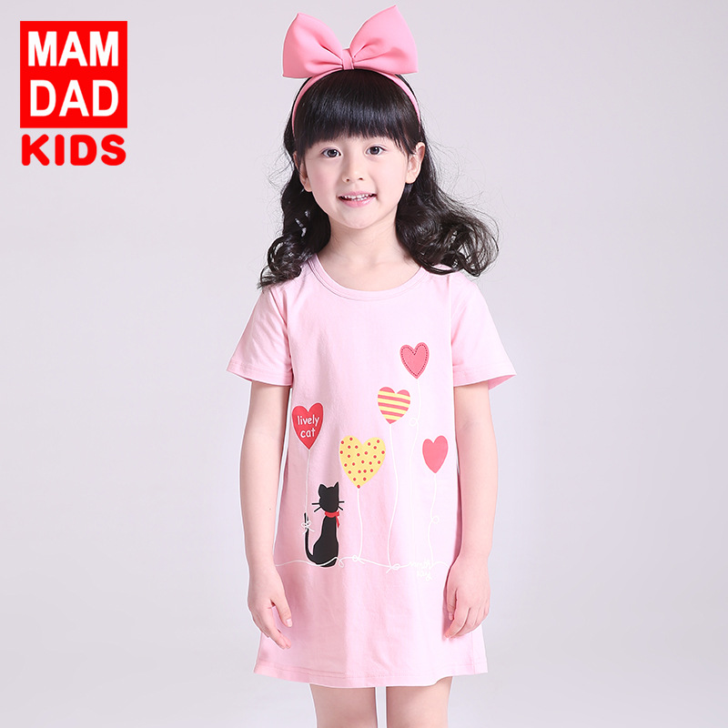 7 Colors Girls Cotton Nightgowns Children Summer Short Sleeve Homewear Dress Kids Cute Pattern Printing Pajamas Dress