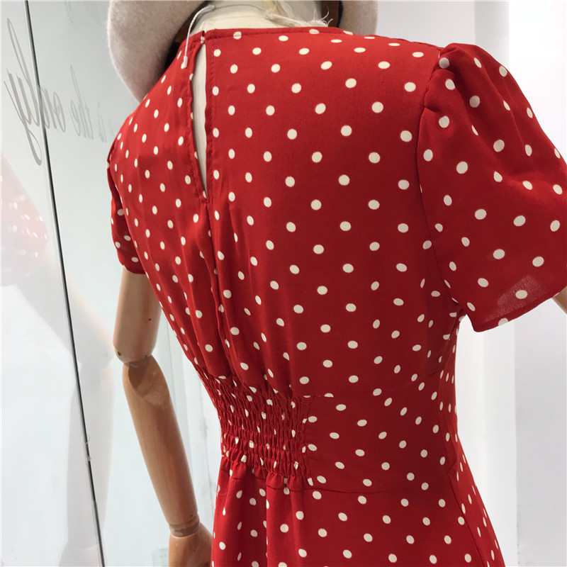 Flectit Vintage 80s Dress French Style Polka Dot Button Up Midi Dress Long Sleeve High Waisted Retro Holiday Dress Women 5