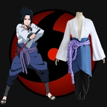 Anime Naturo Sasuke Uchiha Uniform Cloth Made Cosplay Costume grey tops + belt + Apron + armguard + pants Suit