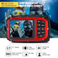 "16MP 2.7"" LCD Waterproof Digital Video Camera Portable Mini Camcorder DV Underwater 10M Diving 8X Digital Zooming Face Detection(China)"