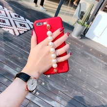 For iphone7 7plus 6 6s 6plus South Korea Luxury Chain Pearl Charm Glossy tpu phone case cover fundas