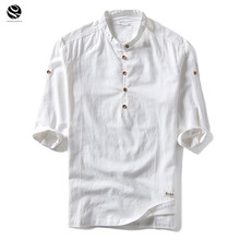 Buy 2018 New Fashion T-shirt Mens cotton Linen t shirts Three Quarter Sleeve Solid V Neck Slim Fit tees Chinese Style casual Tops for $12.99 in AliExpress store
