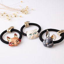 M MISM Korean Cute Animal Head Elastic Rubber Cat Ears Casual Fox Hair Bands Gum for Women Head Accessories Rabbit Scrunchy