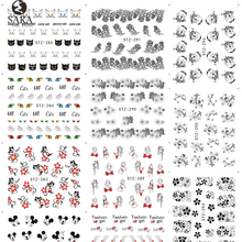 Nail Salon 1 Sheet Black Nail Stickers Lace Flower Designs Water Transfer Nail Tips Decals Sexy Decor Accessories SASTZ280-309