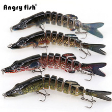 Angryfish 1Pcs Fishing Lure 13cm 29g 8 Segments Lure Bait with Artificial Hooks(China)
