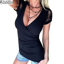 Buy 2017 ZANZEA Womens Sexy T-Shirt Deep V Neck Lace Crochet Floral Splice Slim Shirt Short Sleeve Casual Solid Tops Tees Plus Size for $7.90 in AliExpress store