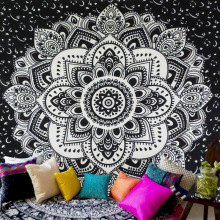 USA Shipping Chic Bohemia Mandala Floral Carpet Wall Hanging Tapestry For Wall Decoration Fashion Tribe Style(China)