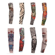8 Pcs New mixed 100%Nylon Elastic Fake Temporary Tattoo Sleeve Designs Body Arm Stockings Tatoo for Cool Men Women Free shipping(China)
