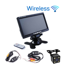 Car styling Wireless 7 inch TFT LCD Car Monitor Headrest Display for Rear view Reverse Backup Camera Car TV Display Wifi