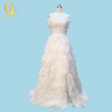 Rhine Real Picture Elie Saab Boat Neck Top Crystal Beads Feathers Sexy Fashion New Arrival Bridal Wedding Dresses(China)