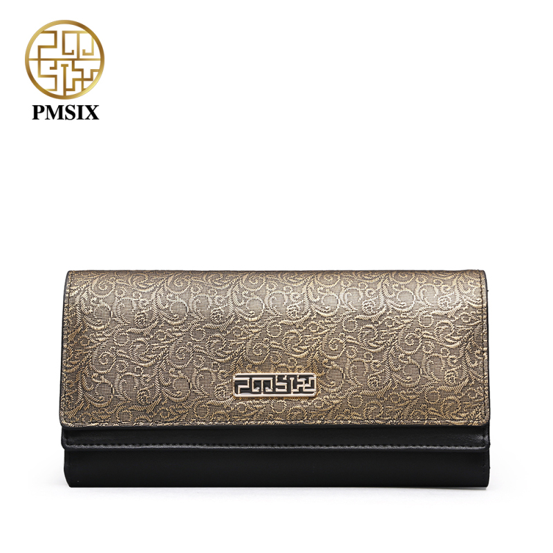 PMSIX Autumn Winter Ladies Long Genuine Leather Wallet Embossed Flower Retro Vintage Women Leather Clutch Wallets P410017<br>