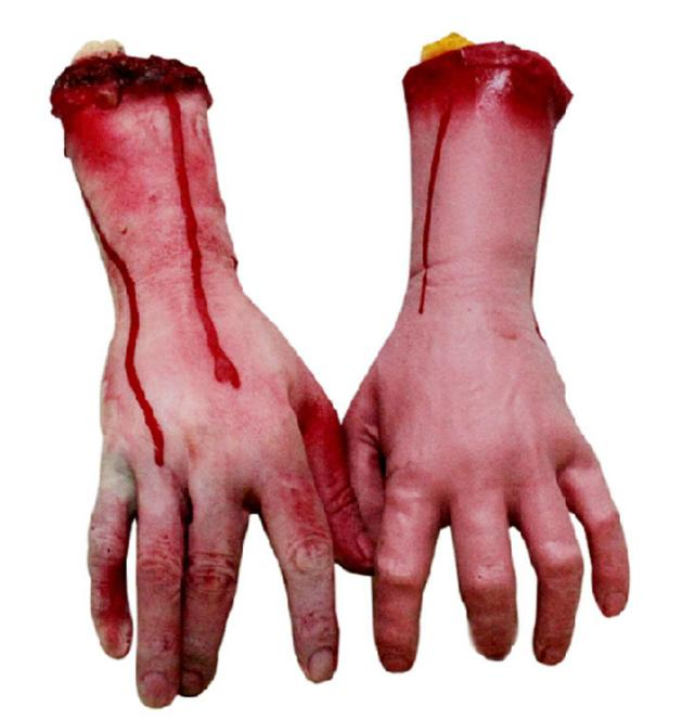 1pc Scary Broken Hand Blood Horror Halloween Decoration Severed Bloody Simulate Hand Novelty Dead Broken Hand Gadgets GYH(China (Mainland))